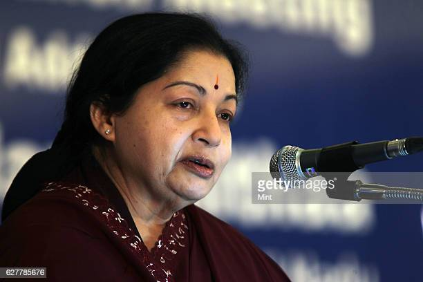 Tamil Nadu Chief minister J Jayalalithaa at the Confederation of Indian Industry National Council Meeting on July 5 2011 in Chennai India AIADMK...