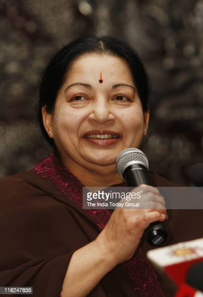 Tamil Nadu Chief Minister J Jayalalithaa during a news conference in New Delhi on Tuesday June 14 2011