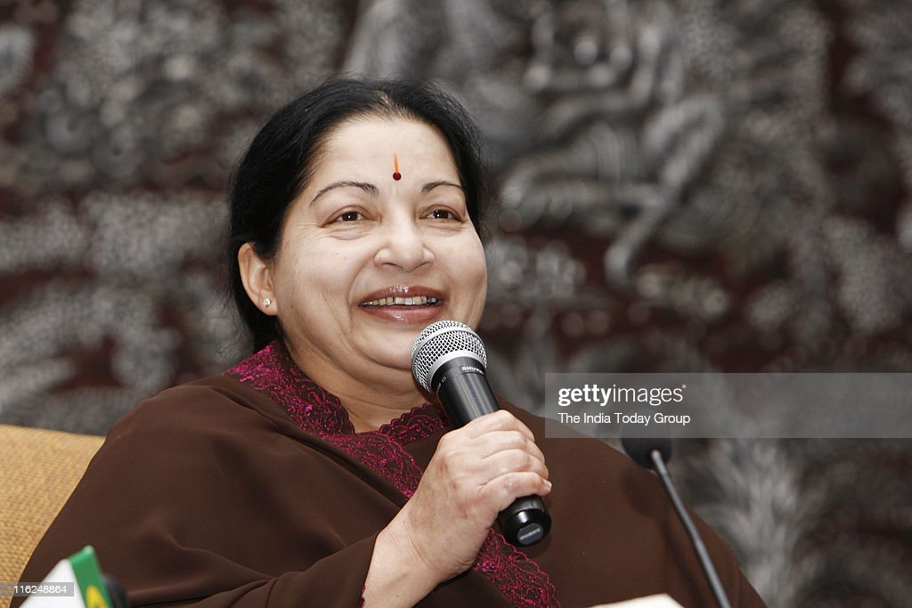 Jayalalithaa during a news conference in New Delhi : News Photo