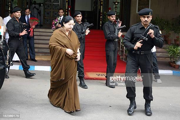 Tamil Nadu Chief Minister Jayalalitha at Tamil Nadu Bhawan New Delhi Jayalalitha has come to Delhi to attend a meeting on Kaveeri Dispute Tribunal