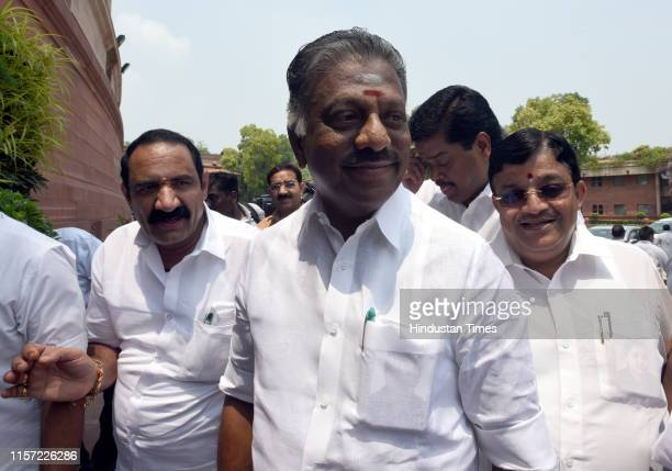 Tamil Nadu Deputy Chief Minister O Panneerselvam along with party MPs arrive for a meeting with Prime Minister Narendra Modi and Union Home Minister...