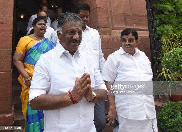 Tamil Nadu Deputy Chief Minister O Panneerselvam along with party MPs leaves after a meeting with Prime Minister Narendra Modi and Union Home...