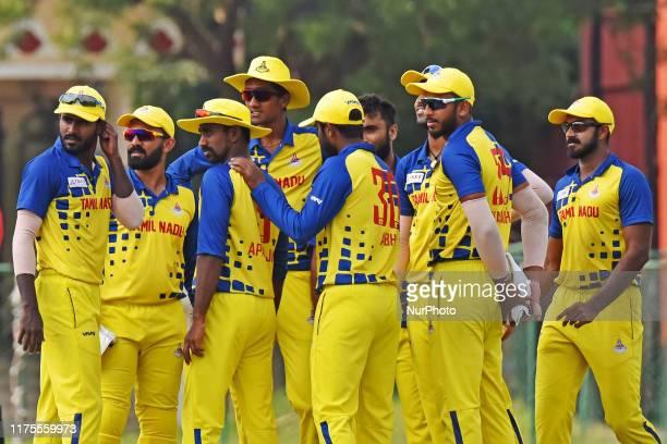 Tamil Nadu players during the Vijay Hazare Trophy match against Madhya Pradesh at SMS Stadium in JaipurRajasthanIndia Oct 122019