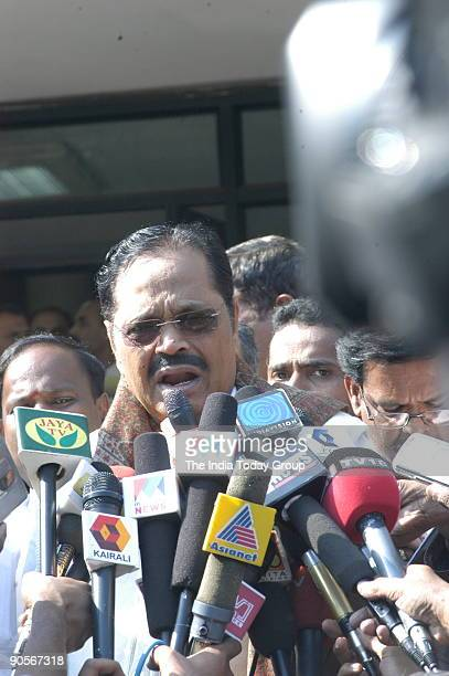 Tamil Nadu PWD minister Durai Muragan addressing the Media after the meeting with Chief Ministers of Tamil Nadu and Kerala on Mullaperiyar Dam in...