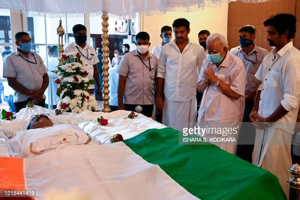 Tamil National Alliance leader R Sambandan presents his respects during the funeral of the Ceylon Workers' Congress trade union Arumugam Thondaman in...