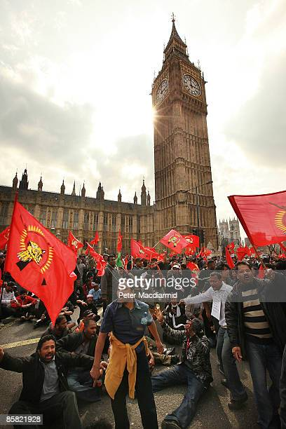 Tamil protestors occupy Bridge Street outside Parliament on April 6 2009 in London Tamil supporting demonstrators had earlier gathered in Parliament...