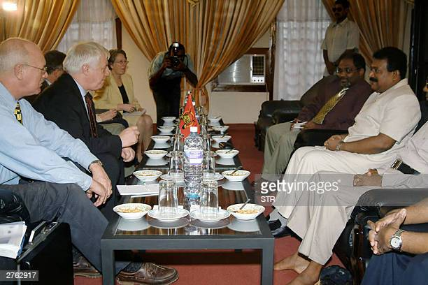 Tamil Tiger leader Velupillai Prabhakaran sits along with his colleagues during talks with EU External Relations Commissioner Chris Patten at a rebel...