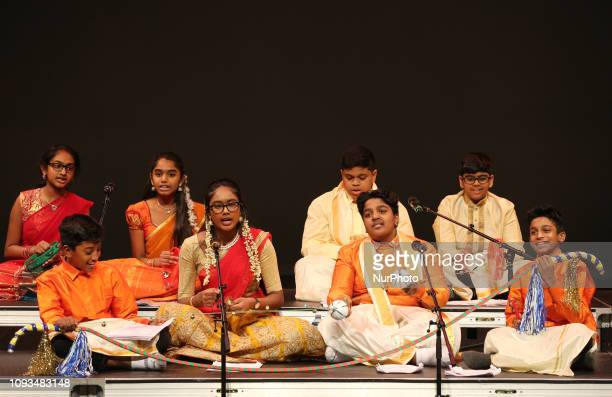 Tamil youth perform a traditional song during a cultural program celebrating the Thai Pongal Festival in Markham Ontario Canada on January 13 2019...