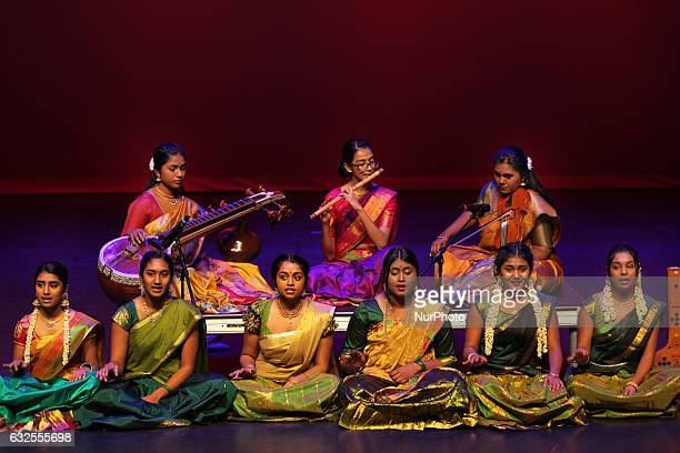 Tamil youth sing Carnatic songs during the Thai Pongal festival in Markham Ontario Canada on January 15 2017 The festival of Thai Pongal is a...