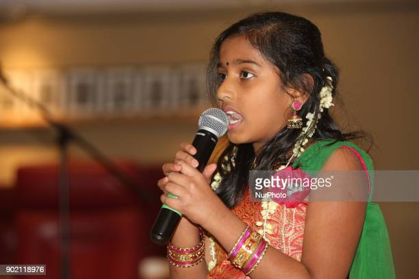TamilCanadian girl gives a speech in Tamil to demonstrate her command of the Tamil language and show her connection with her cultural roots during...