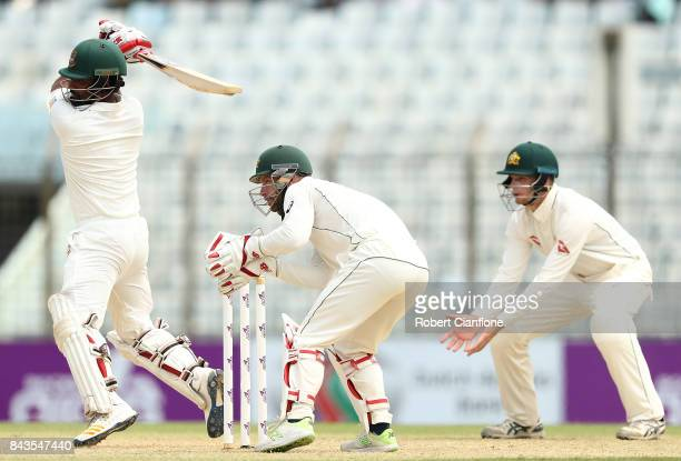 Tamim Iqbal Khan of Bangladesh bats during day four of the Second Test match between Bangladesh and Australia at Zahur Ahmed Chowdhury Stadium on...
