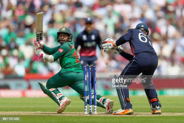 Tamim Iqbal Khan of Bangladesh bats during the ICC Champions Cup Group A match between England and Bangladesh at The Kia Oval on June 1 2017 in...