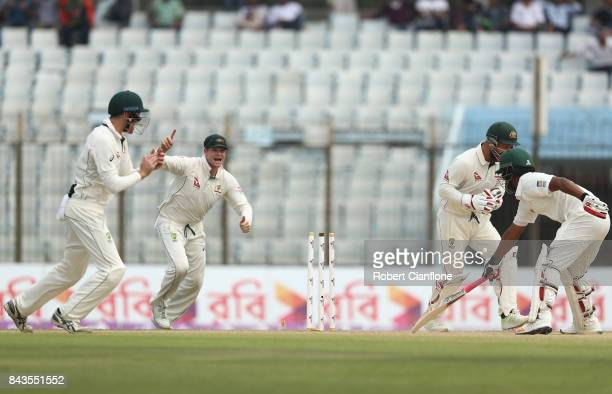 Tamim Iqbal Khan of Bangladesh is stumped by Matthew Wade of Australia during day four of the Second Test match between Bangladesh and Australia at...