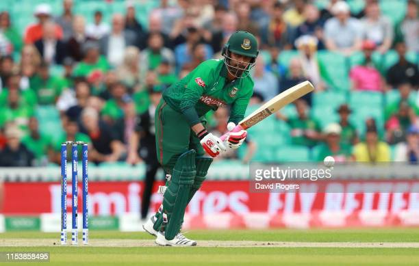 Tamim Iqbal Khan of Bangladesh plays the ball during the Group Stage match of the ICC Cricket World Cup 2019 between Bangladesh and New Zealand at...