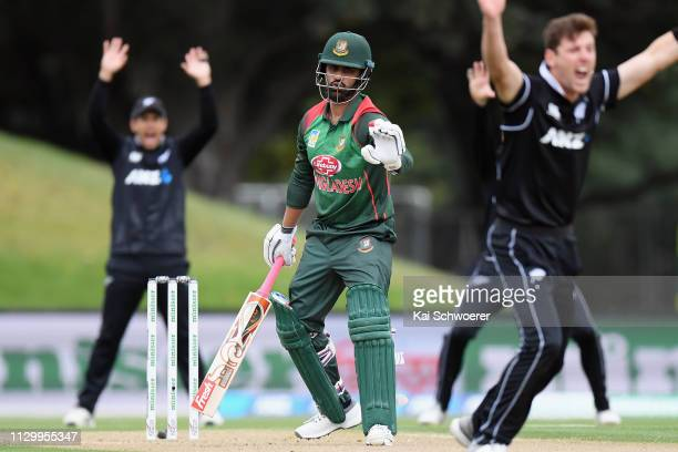Tamim Iqbal Khan of Bangladesh reacts after being dismissed by Matt Henry of New Zealand during Game 2 of the One Day International series between...