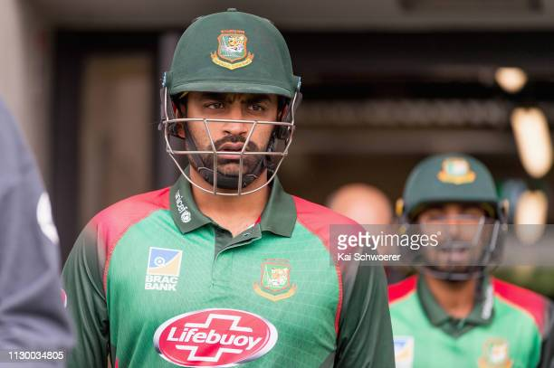 Tamim Iqbal Khan of Bangladesh walks out to bat during Game 2 of the One Day International series between New Zealand and Bangladesh at Hagley Oval...