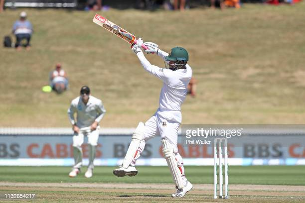 Tamim Iqbal of Bangladesh bats during day one of the First Test match in the series between New Zealand and Bangladesh at Seddon Park on February 28...