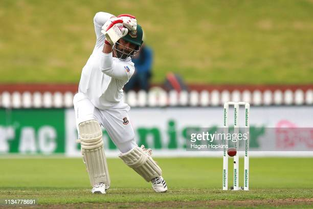 Tamim Iqbal of Bangladesh bats during day three of the second test match in the series between New Zealand and Bangladesh at Basin Reserve on March...