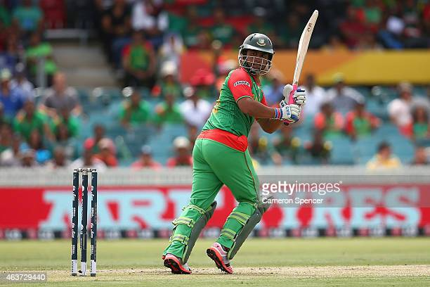 Tamim Iqbal of Bangladesh bats during the 2015 ICC Cricket World Cup match between Bangladesh and Afghanistan at Manuka Oval on February 18 2015 in...