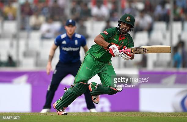 Tamim Iqbal of Bangladesh bats during the 2nd One Day International match between Bangladesh and England at ShereBangla National Cricket Stadium on...