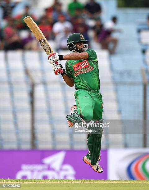 Tamim Iqbal of Bangladesh bats during the 3rd One Day International match between Bangladesh and England at Zohur Ahmed Chowdhury Stadium on October...