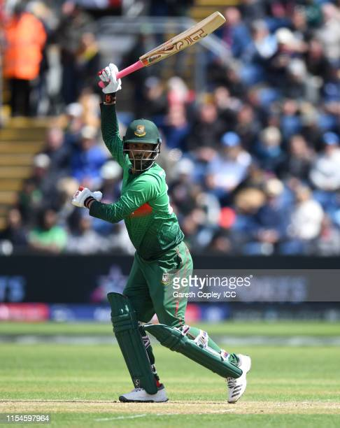 Tamim Iqbal of Bangladesh bats during the Group Stage match of the ICC Cricket World Cup 2019 between England and Bangladesh at Cardiff Wales Stadium...