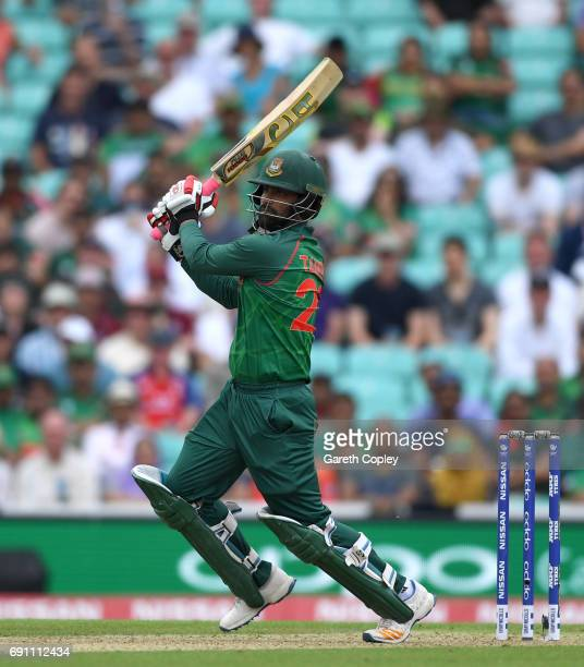Tamim Iqbal of Bangladesh bats during the ICC Champions Trophy group match between England and Bangladesh at The Kia Oval on June 1, 2017 in London,...