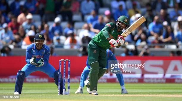 Tamim Iqbal of Bangladesh bats during the ICC Champions Trophy Semi Final between Bangladesh and India at Edgbaston on June 15 2017 in Birmingham...