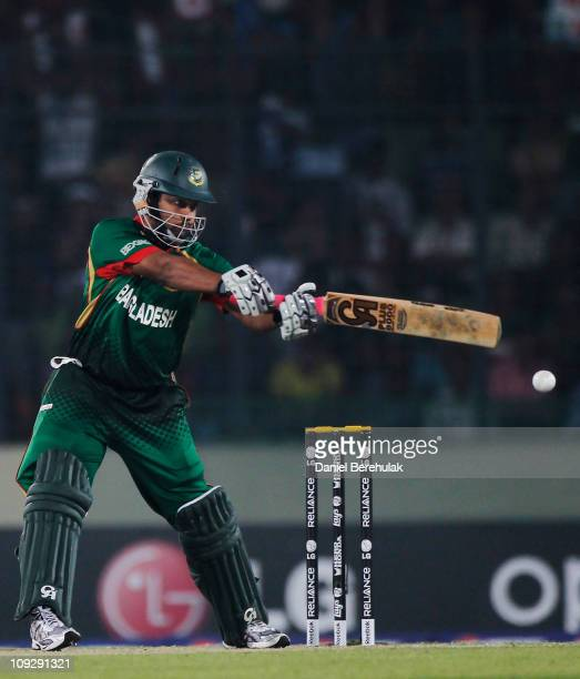 Tamim Iqbal of Bangladesh bats during the opening game of the ICC Cricket World Cup between Bangladesh and India at the ShereeBangla National Stadium...