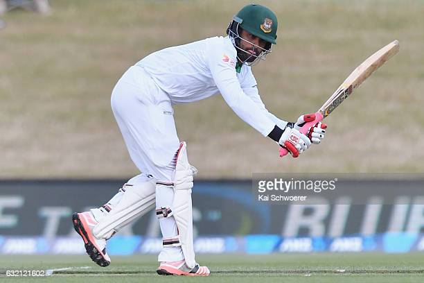 Tamim Iqbal of Bangladesh batting during day one of the Second Test match between New Zealand and Bangladesh at Hagley Oval on January 20 2017 in...