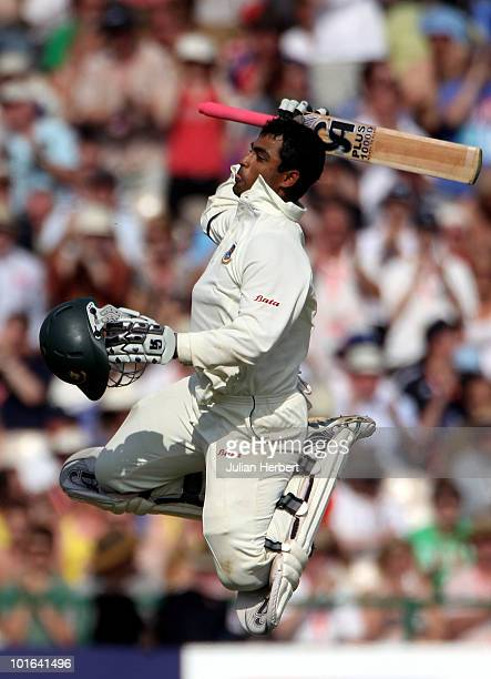 Tamim Iqbal of Bangladesh celebrates his 100 on day two of the 2nd npower Test between England and Bangladesh at Old Trafford on June 5, 2010 in...