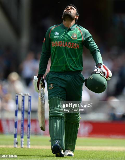 Tamim Iqbal of Bangladesh celebrates his century during the ICC Champions Trophy match between England and Bangladesh at The Kia Oval on June 1 2017...