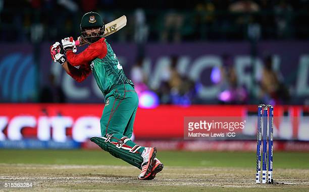 Tamim Iqbal of Bangladesh edges the ball towards the boundary during the ICC World Twenty20 India 2016 match between Bangladesh and Oman at the HPCA...