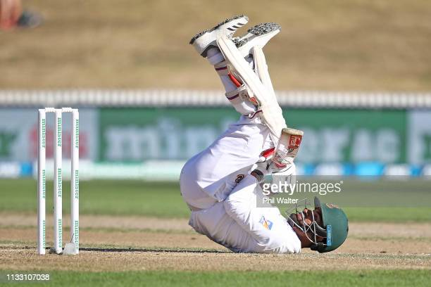 Tamim Iqbal of Bangladesh fals over as he bats during day three of the First Test match in the series between New Zealand and Bangladesh at at Seddon...