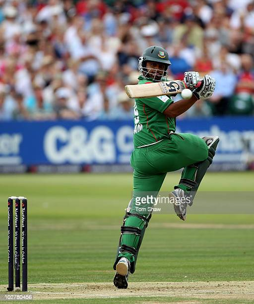 Tamim Iqbal of Bangladesh hits out during the 2nd One Day International match between England and Bangladesh at the County Ground on July 10, 2010 in...