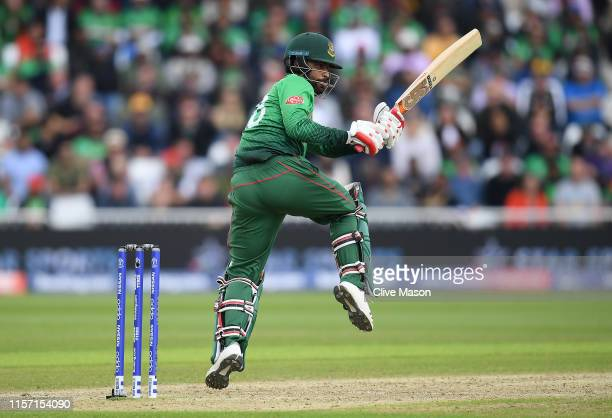 Tamim Iqbal of Bangladesh in action batting during the Group Stage match of the ICC Cricket World Cup 2019 between Australia and Bangladesh at Trent...