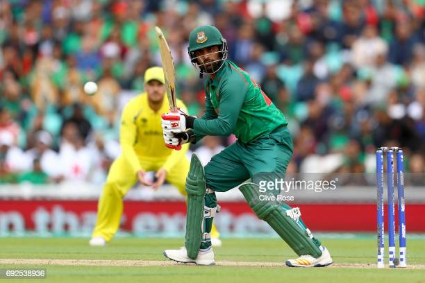 Tamim Iqbal of Bangladesh in action during the ICC Champions trophy cricket match between Australia and Bangladesh at The Oval in London on June 5...