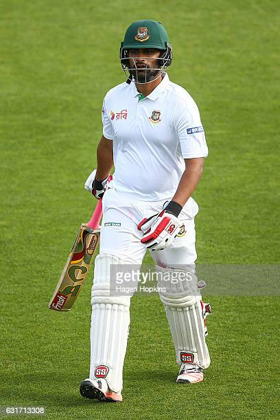 Tamim Iqbal of Bangladesh leaves the field after being dismissed during day four of the First Test match between New Zealand and Bangladesh at Basin...