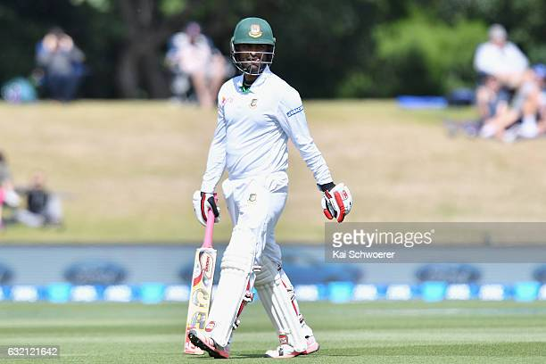 Tamim Iqbal of Bangladesh looks dejected after being dismissed by Tim Southee of New Zealand during day one of the Second Test match between New...