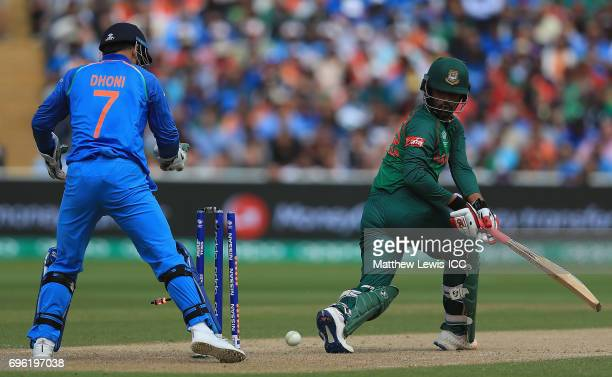 Tamim Iqbal of Bangladesh looks on after being bowled by Kedar Jadhav of India during the ICC Champions Trophy Semi Final match between Bangladesh...