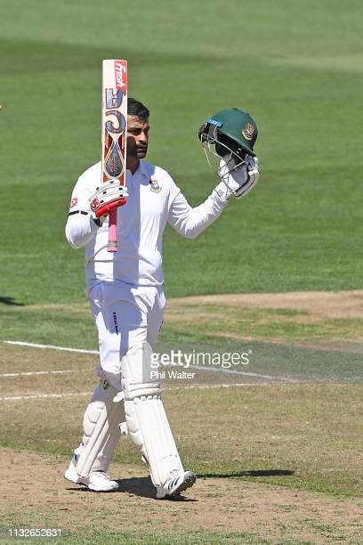 Tamim Iqbal of Bangladesh makes his century during day one of the First Test match in the series between New Zealand and Bangladesh at Seddon Park on...