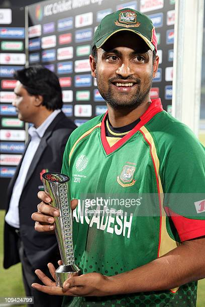 Tamim Iqbal of Bangladesh Man of the Match winner in the 2011 ICC World Cup Group B match between Bangladesh and Ireland at ShereeBangla National...