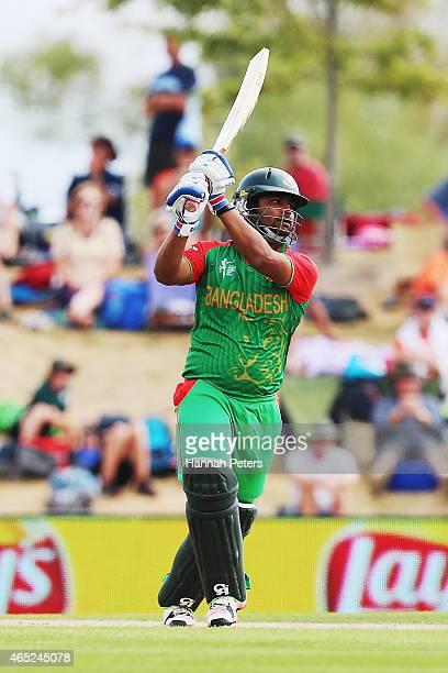Tamim Iqbal of Bangladesh pulls the ball away for six runs during the 2015 ICC Cricket World Cup match between Bangladesh and Scotland at Saxton...