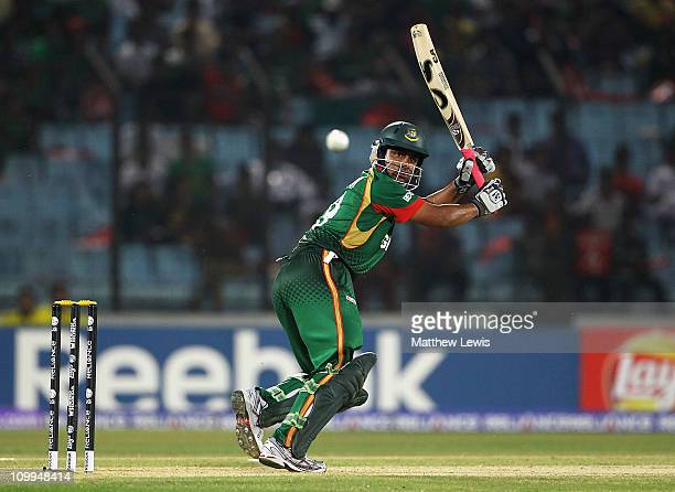 Tamim Iqbal of Bangladesh pulls the ball towards the boundary during the 2011 ICC World Cup Group B match between Bangladesh and England at Zohur...