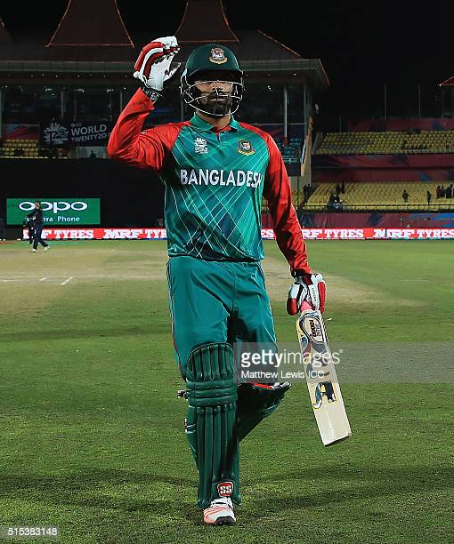 Tamim Iqbal of Bangladesh walks off the pitch after hitting a century during the ICC World Twenty20 India 2016 match between Bangladesh and Oman at...