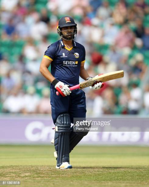 Tamim Iqbal of Essex Eagles walks off the field after being bowled by Adam Milne of Kent Spitfires during the Natwest T20 Blast match between Kent...