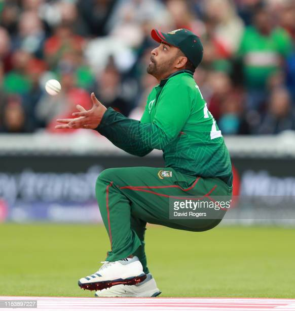 Tamin Iqbal Khan of Bangladesh catches Martin Guptill during the Group Stage match of the ICC Cricket World Cup 2019 between Bangladesh and New...