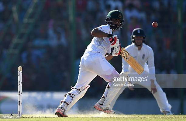 Tamin Iqbal of Bangladesh bats during day two of the first Test between Bangladesh and England at Zohur Ahmed Chowdhury Stadium on October 21 2016 in...