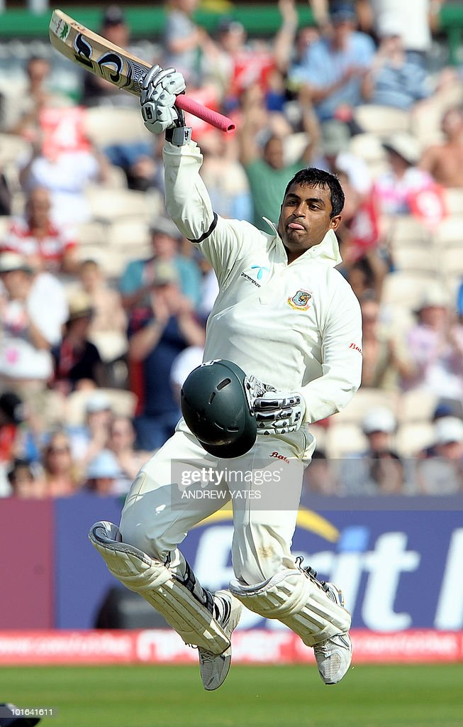 Tamin Iqbal of Bangladesh celebrates getting to 100 runs during the second day of the second Test match against England at Old Trafford in Manchester, north-west England on June 5 2010. Bangladesh were 96 without loss in reply to England's first innings 419, a deficit of 323, at tea on Saturday and now needed just 124 more runs to avoid the follow-on.