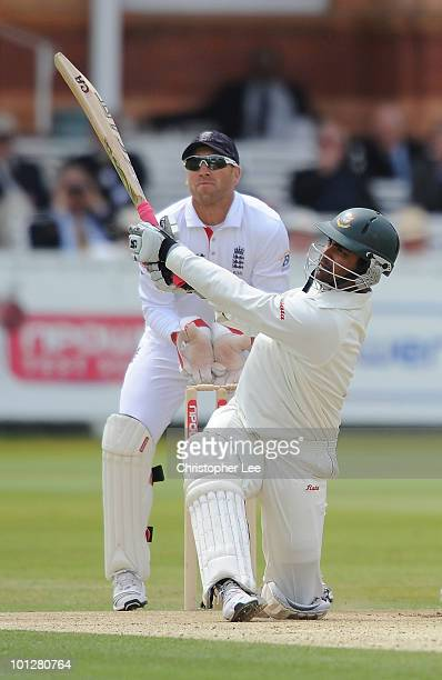 Tamin Iqbal of Bangladesh in action during day 4 of the 1st npower Test match between England and Bangladesh at Lords on May 30 2010 in London England